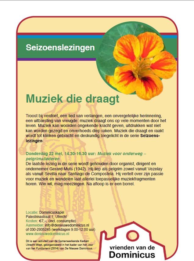 Flyer Seizoenslezing Muziek voor Onderweg