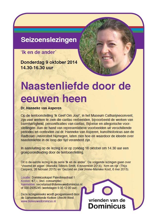 Flyer seizoenslezing Naastenliefde en de ander - 9 october 2014