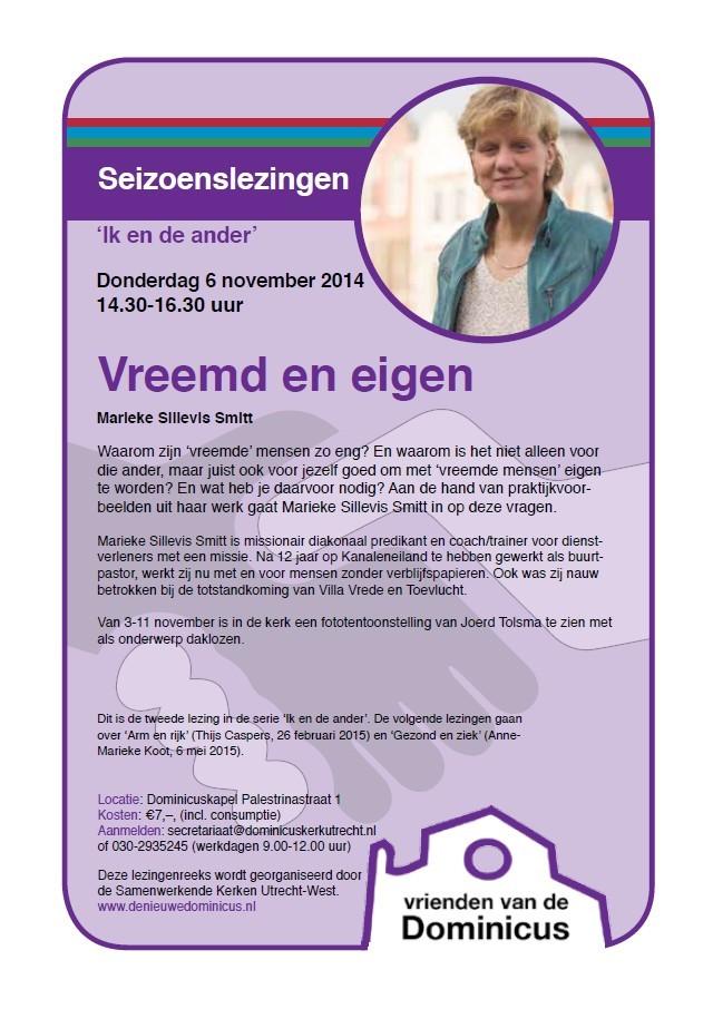 Flyer Seizoenslezing Vreemd en eigen - 6 november 2014