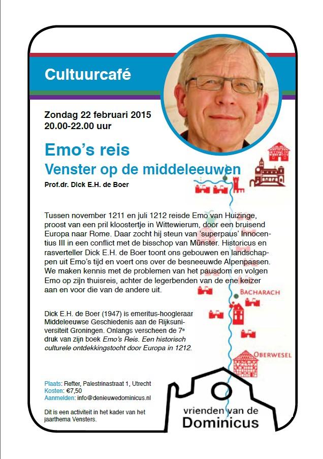 Flyer lezing Emo's reis