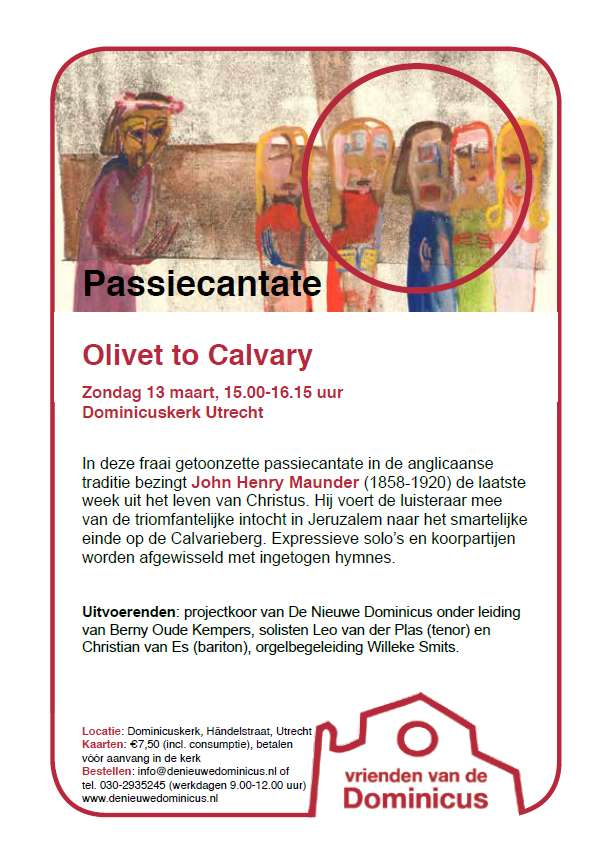 "Flyer passiecantate ""Olivet to Calvary"""