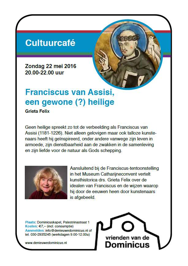 Flyer Cultuurcafé over Franciscus van Assisi