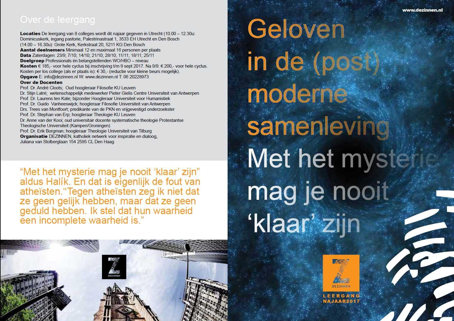 Flyer cursus De Zinnnen, najaar 2017