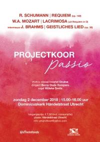 Flyer concert door Projectkoor Passio, 2 december 2018