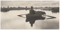 Foto roeiboot op rimpellooos meer