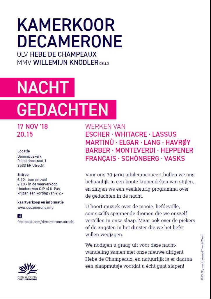 Flyer Decamerone, 17 november 2018 - achterblad