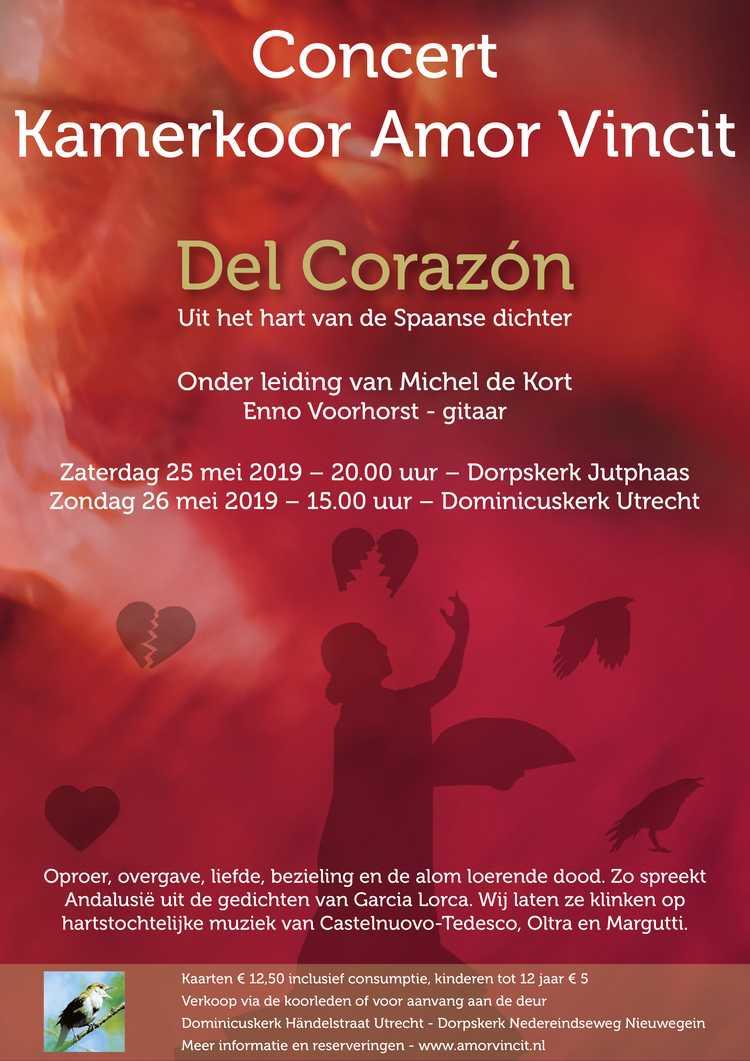 """Flyer concert """"Del Corazón:"""" door kamerkoor Amor Vincit, mei 2019"""