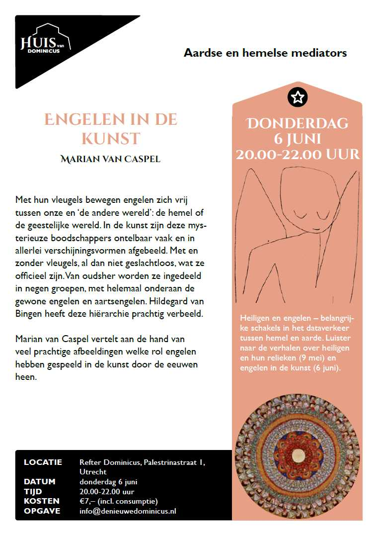 Flyer lezing Marian van Casepel over engelen in de kunst