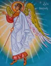 Muurschildering in iconenstijl met engel
