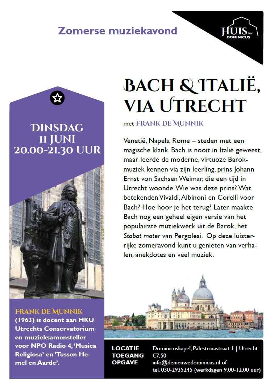 """Flyer muziekavond """"Bach & Italié, via Utrecht""""- 11 juni 2019"""