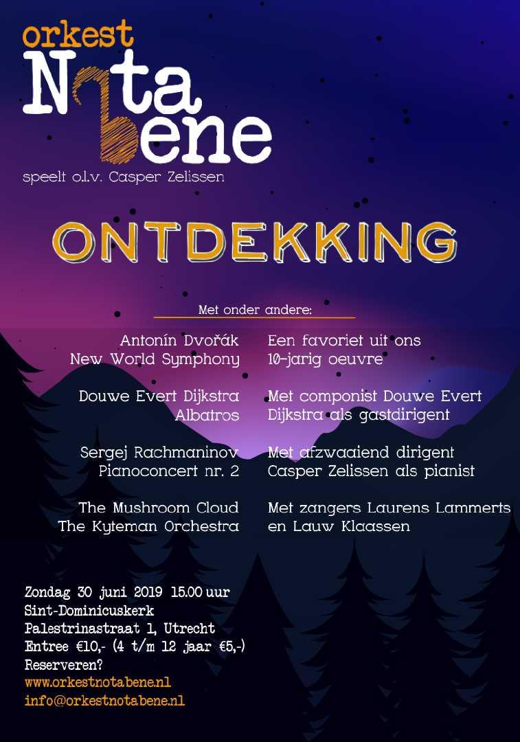 Flyer jubikeum concert orkest Nota Bene, 30 juni 2019